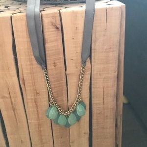 Jewelry - Necklace, gray ribbon, gold chain, green teardrop.